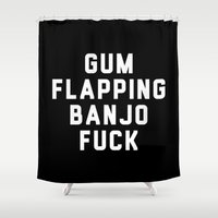 banjo Shower Curtains featuring Banjo Fuck by moop