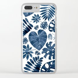 Blue tropical palm leaves Clear iPhone Case