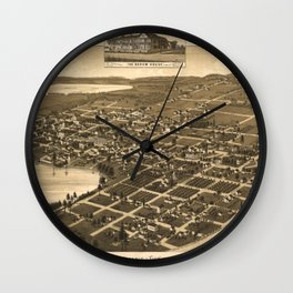 Vintage Pictorial Map of Lake City Florida (1885) Wall Clock