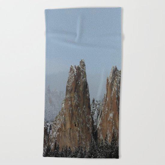Smith Rock Snowbound Beach Towel