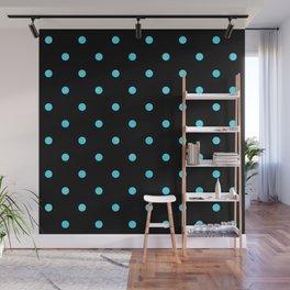 Trendy Aqua-Green Dot Pattern on Black Wall Mural