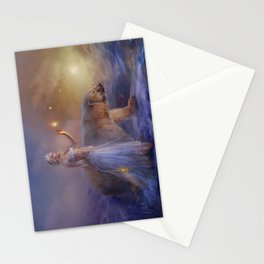 Aurora Northern Lights - Woman with Icebear  Stationery Cards