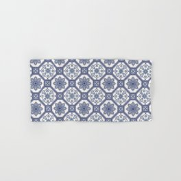 White & Blue Contemporary Floral Pattern Hand & Bath Towel