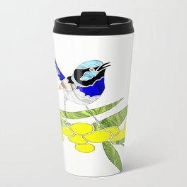 Blue Wren and Golden Wattle Travel Mug