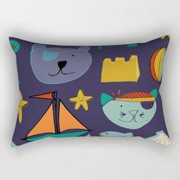 cat and bear pirate purple Rectangular Pillow