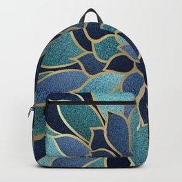 Festive, Floral Prints, Navy Blue, Teal and Gold Backpack