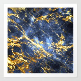 Ornate, Classic Gold and Sapphire Marble Art Print
