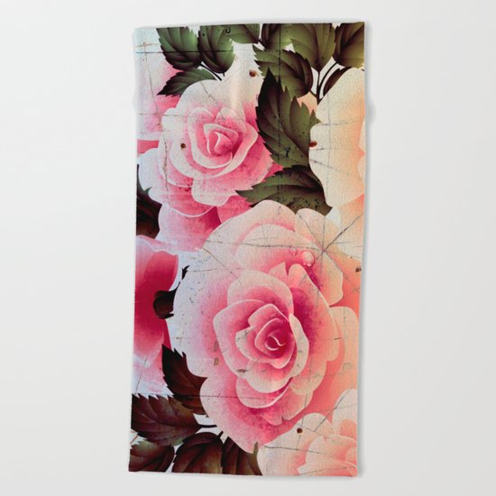 pink rose on old tile Beach Towel