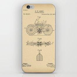 1897 Patent electric Bicycle Velocipede e-bike iPhone Skin