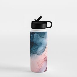 Pastel Plum, Deep Blue, Blush and Gold Abstract Painting Water Bottle