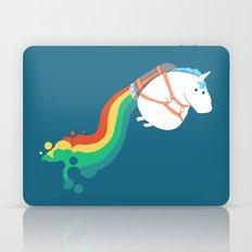 Fat Unicorn on Rainbow Jetpack Laptop & iPad Skin