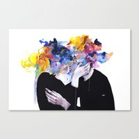 lips Canvas Prints featuring intimacy on display by agnes-cecile