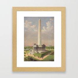 Currier & Ives. - Print c.1885 - The National Washington Monument Framed Art Print