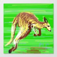kangaroo Canvas Prints featuring Kangaroo by wingnang