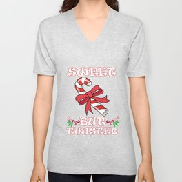 Sweet But Twisted Cute Christmas Candy Cane Holiday Graphic design Unisex V-Neck