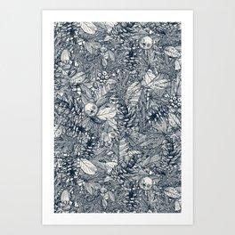 forest floor indigo ivory Art Print