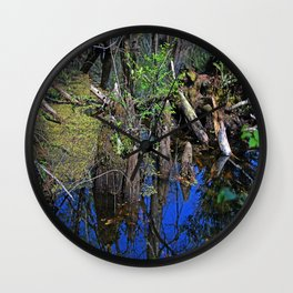 Blue Reflections in the Slough Wall Clock