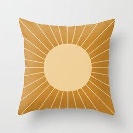 Minimal Sunrays - Golden Throw Pillow