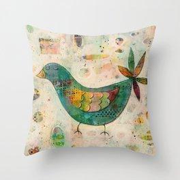 Blue(ish) Bird Throw Pillow