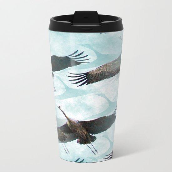 Abstract Whooping Cranes  Metal Travel Mug