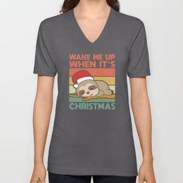 Wake Me Up When It's Christmas | Sloth Xmas Gift Unisex V-Neck
