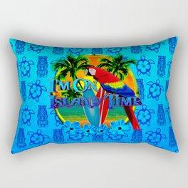 Island Time Surfing Blue Tiki Rectangular Pillow