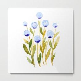 Simple watercolor flowers - blue and green Metal Print