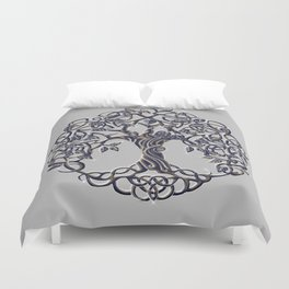 Tree of Life Silver Duvet Cover