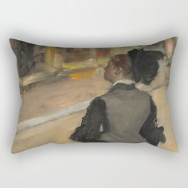 Woman Viewed from Behind (Visit to a Museum) Rectangular Pillow