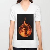 mockingjay V-neck T-shirts featuring THE MOCKINGJAY by John Aslarona