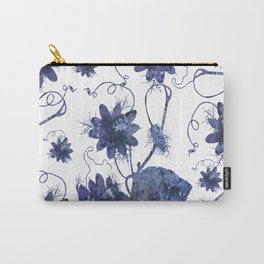 Watercolor Indigo Passion Flower Carry-All Pouch