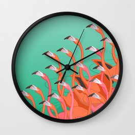 Fresco of the flamingoes. Wall Clock