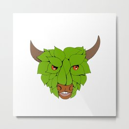 Green Bull Head Drawing Metal Print
