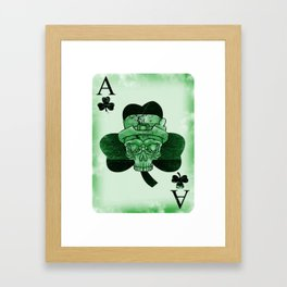 Skull Ace Card Irish luck St. Patricks Day Framed Art Print