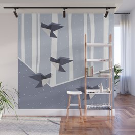 Elegant Origami Birds Abstract Winter Design Wall Mural