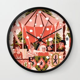 Christmas Coffee Carousel Wall Clock