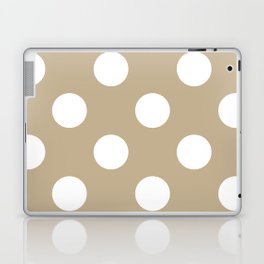 Large Polka Dots - White on Khaki Brown Laptop & iPad Skin