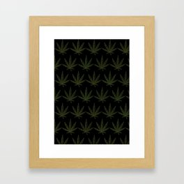 Weed Leaf Black Framed Art Print