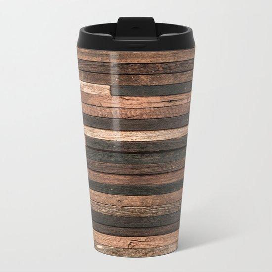 Vintage Wood Plank Metal Travel Mug