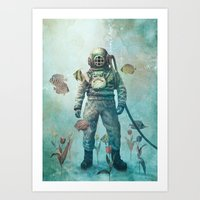 yellow Art Prints featuring Deep Sea Garden  by Terry Fan