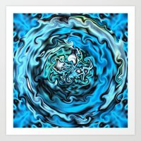 Aqua Swirl Topography Art Print