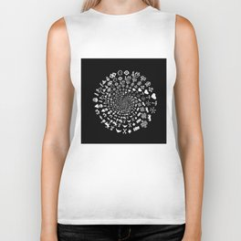 Love Symbol Mandala White on Black Biker Tank