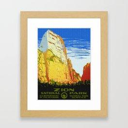 Zion National Park - Vintage Travel Framed Art Print