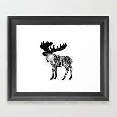 Midnight Moose Pen and Ink drawing. Nature Inspired. Connected to the Earth Framed Art Print