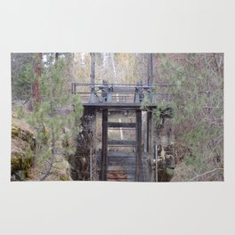 Antique Spillway, Old River Spillway in Trees and Bushes Rug
