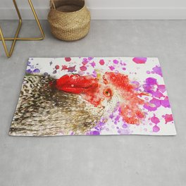 Rooster Watercolor, Painted Roost Art, Cool Chicken, Splatter Rooster Design, Rooster Decor Rug
