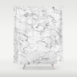 Marble White and Gray Texture Abstract Art Shower Curtain