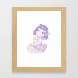 Pastel Girl purple and white Framed Art Print