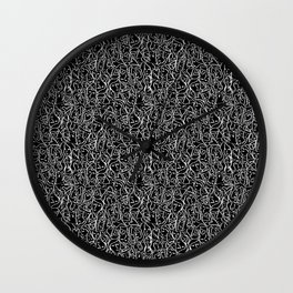 Elios Shirt Faces with Valentine Hearts in White Outlines on Black Wall Clock