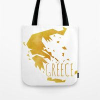greece Tote Bags featuring Greece by Stephanie Wittenburg